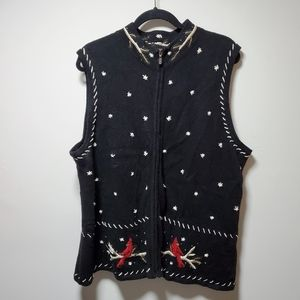 CJ Banks Cardinal Hand Embroidered Sweater Vest